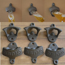 Retro Cast Iron OPEN HERE Wall Mounted Bottle Cap Opener Bar Kitchen Cola Beer F