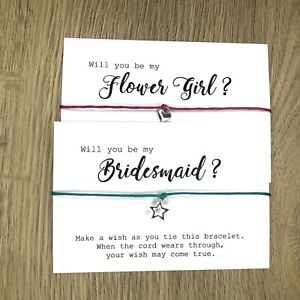 Will You Be My Wish Bracelet Bridesmaid Flower Girl Maid Honour card gift bride