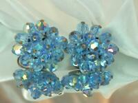 Sparkling Ice Baby Blue AB Crystal Vintage 1960's Flower Clip On Earrings 683D9