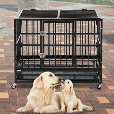 "36"" Dog Crate Large Kennel Cage Heavy Duty Steel Pet Playpen W/Wheels&Tray Black"