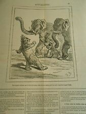 Caricature 1878 - the bear deal with the Lion and to the 2 Elephants India