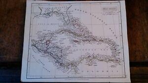 1842 ORIGINAL ANTIQUE MAP WEST INDIES & SW UNITED STATES -JOHN ARROWSMITH LONDON