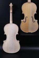 Professional White Unfinished Violin 4/4 Tiger Flame Maple Spruce Handmade #3083