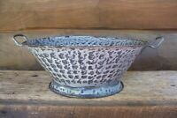 Antique Gray Mottled Graniteware Colander or Kitchen Strainer