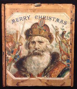 Antique Victorian Santa Christmas Cigar Box
