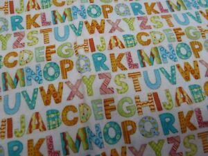 100% Cotton  Fabric - large FQ -Alphabet