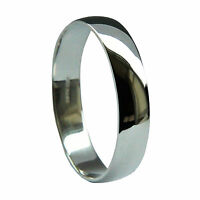 5mm 9ct White Gold D Shape Wedding Rings Profile Bands 375 Solid UK HM NEW Q-Z1