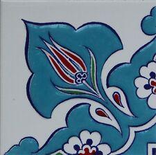 """Turquiose 4""""x4"""" Raised Iznik Ceramic Daisy & Tulip Pattern Tile Border Corner"""