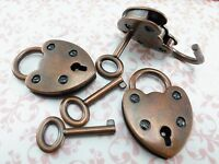 Old Vintage Antique Style Mini Padlock Key Lock Heart Shape (Antique Copper) 3x