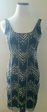 ADRIANNA PAPELL Navy Fully Beaded Sleeveless Tank Dress Gown Sz 0 FASHION HAVEN