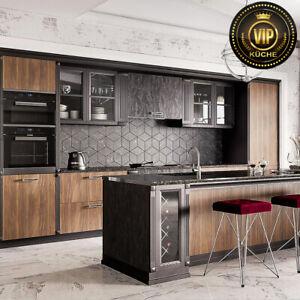 Moderne Landhausküche ASTORY Massivholzküche Braun/ Schwarz/ Marmor (Meterpreis)