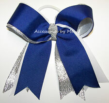 Cheer Bow Royal Blue White Silver Ribbons Ponytail Streamer Cheerleader Dance