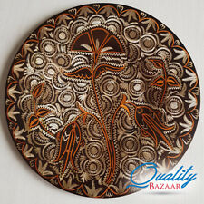 Antique Handmade Round Authentic Tulip Patterned Copper Wall Plate
