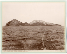 Italie, Capri, veduta dell'isola presa dal mare  Vintage albumen print,