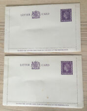 2 X Qe11 Unused 1950's Letter Cards With Pre Printed Purple 3d Stamps
