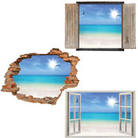 Window Wall Sticker Decal Vinyl 3D Beach birds View home art room decor
