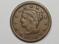 1847 US Braided Hair Large Cent Coin.  #31