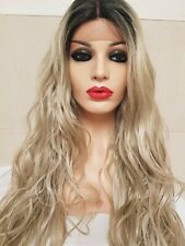 Silver Ash light blonde, human hair wig, Lace Frontal Wig , ombre  dark roots