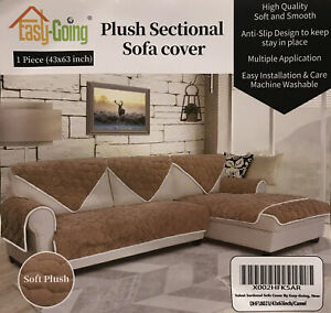 """Easy-Going Sofa Slipcover L Shape Sectional Sofa Couch Cover Camel Color 43""""x63"""""""