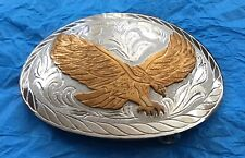 VTG Hand Engraved Silver & Bronze EAGLE Western BELT BUCKLE- Philadelphia NFL
