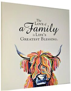 Highland Cow Colourful Animal wall art printed canvas framed with family quote 5