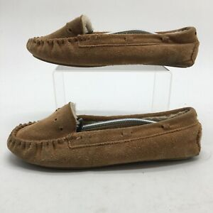 Minnetonka Womens 9 Cally Moccasin Slippers Brown Suede Faux Fur Slip On 4011W