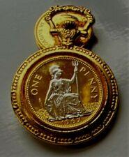 More details for 1967 vintage british qe ii britannia penny 24ct gold plated & rhodium  pendant -