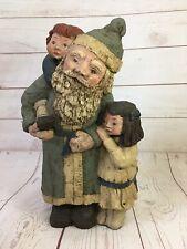 Vintage Sarah's Attic Spirit of Christmas Santa Children Primitive Sculpture Art