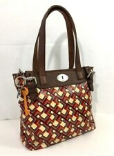 FOSSIL Key Per Tote Shoulder Bag Coated Canvas Leather Geometric Print