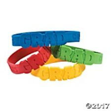 24 Die Cut Graduation Party Rubber Bracelets - red, blue, green & yellow