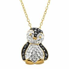 in 18K Gold-Plated Silver Penguin Pendant with Crystals