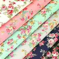 Cotton Fabric FQ Romantic Rose Floral Vintage Retro Printed Dress Quilting VK121