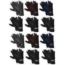 12 Pairs Bulk Lot  Men's Fleece Lined Adjustable Warm Winter Gloves