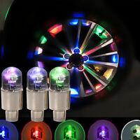 4X Multicolour Car Cycling Bike LED Neon Wheel Valve Tyre Tire Cap Dust Li UKPL