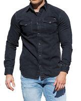 Jack & Jones Mens Long Sleeves Slim Stretch Fit Black Denim Shirt S M L XL 2XL