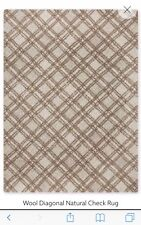 next wool diagonal natural check rug 140 x 200cm
