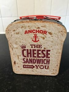 FAB ANCHOR CHEESE SANDWICH NOVELTY STORAGE TIN CARRY CASE LUNCH BOX - New