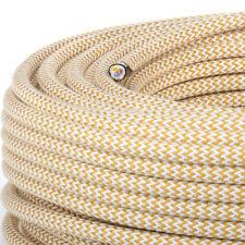 Cable Textil, Fibra Trenzado, Redondo, Lino Zig-Zag, Oro / Blanco, 3x0, 75 H03VV