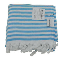 Aqua Blue and White Terry Backed Turkish Towel, Soft Bath Beach Peshtemal Towel