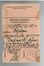 1940 Germany Dachau Concentration Camp money order Receipt Bogdan Kozymirinsky