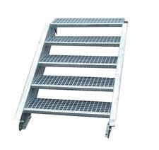 Stahltreppe Treppe 5 Stufen-Stufenbreite 60cm / Geschosshöhe 70-105cm verzinkt