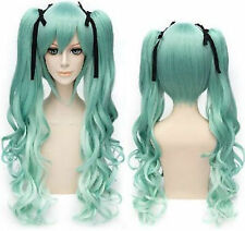 Vocaloid Hatsune Miku Curly green Ponytails Cosplay Wig
