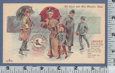 C215 F. Mayer Boot & Shoe Co. trade card Milwaukee, WI walking in the rain, poem