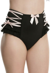 BLACK AND PINK HIGH WAISTED SEXY PANTY WOMENS SIZE MEDIUM