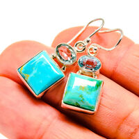 "Arizona Turquoise, Blue Topaz Sterling Silver Earrings 1 3/8"" Jewelry E411598F"