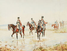 Eva RESSAN aquarelle militaire dessin tableau militaria Hussards Empire cavalier