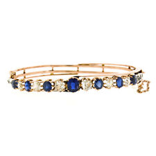 Antique Victorian 18k Gold 4.60ct No Heat GIA Sapphire & Diamond Bangle Bracelet