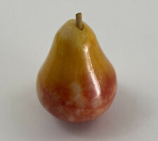 Vintage Italian Alabaster Stone Fruit Marble Pear Red with Yellow w/stem