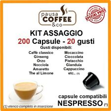 KIT ASSAGGIO 200 capsule NESPRESSO: Caffè, Ginseng, Nocciola, Pistacchio,etc