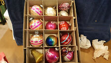 Vintage Box of 14 Shiny Brite U.S.A.Glass Christmas Ornaments  Indent, Cone